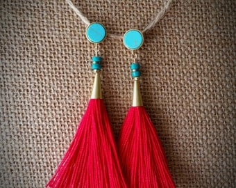 Red tassel earring, turquoise earring, turquoise post earring, gold earring, dangle post earring, tassel earring