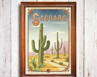 Saguaro poster, Saguaro National Park print, arizona poster, saguaro art gift, arizona national park poster, saguaro art print