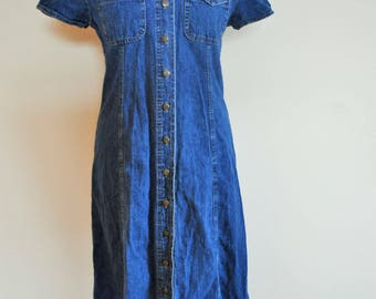 Vintage denim Dress / Coat / Buttons down / Medium / M / onepiece / Sarafan / Jeans / Jacket / Short sleeves / Long dress /