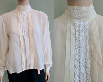 Silk and Lace Cream Blouse, Pure Silk Victorian White Blouse, Back Button Up Blouse, 1980's Silk Top, Women's White Silk Shirt. Medium Large