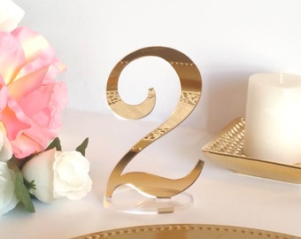 Mirror Acrylic Table Numbers, Event Decor; Standing Numbers Gold Table Numbers, Acrylic Wedding Decor  [ATN10]