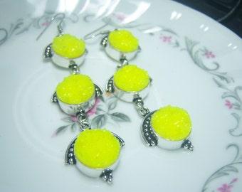 Sparkling Dyed Yellow Agate Druzy Geode Earrings Silver Over Copper Setting, Drop Earring, Droosy Drusy, Boho,  Earrings, Statement Jewelry,