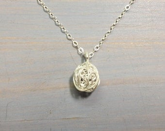 Sterling Silver wire ball nest wrapped pendant necklace