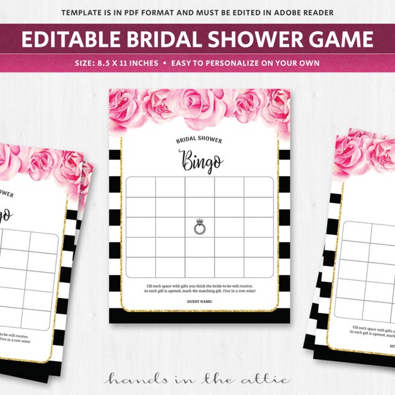 bingo card template bridal shower game wedding fuschia pink roses flowers florals black white. Black Bedroom Furniture Sets. Home Design Ideas