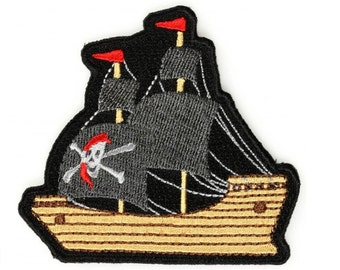 Pirate Ship Iron On Patch - 3 x 2.8 inch Free Shipping P5560