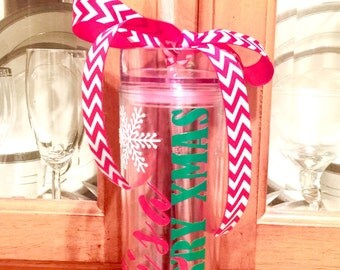 Merry Christmas Tumbler/Christmas Gift/Personalized/Vinyl/Tumbler/Double Walled/Teacher Gifts/Secret Santa/Christmas