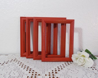 Rustic Red Picture Frame 5x7 Photo Decoration Up Cycled Vintage Wood Country Farmhouse Lake House Cabin Home Decor Shabby Chic Wedding Gift