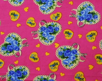 """Indian Dress Fabric, Heart Print, Magenta Fabric, Quilt Material, Sewing Decor, Home Accessories, 41""""Inch Cotton Fabric By The Yard ZBC7072B"""