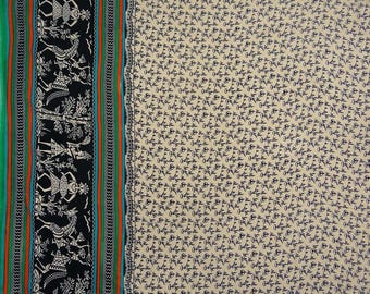 """Decorative Fabric, Black Tribal Print, Beige Fabric, Rayon Fabric, Sewing Accessories, 42"""" Inch Apparel Fabric By The Yard ZBR182A"""