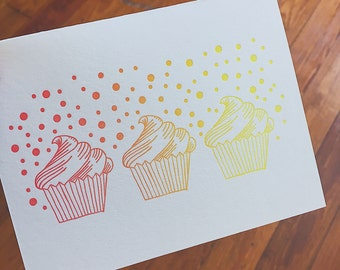 Letterpress Cupcake Birthday Card