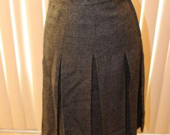 Vintage 50s Wool Pleated Dark Grey School Girl Skirt