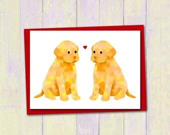 Labrador puppy love card, Custom colours, Dog lover anniversary engagement card, Cute blank card, Girlfriend boyfriend wife love card