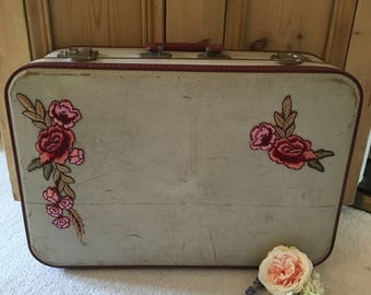 Up Cycled Vintage Suitcase with Peony Embellishments