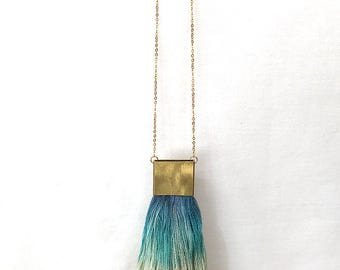 Teal Ombre Brass and Hand Dyed Raw Silk Tassel Necklace Markota1970