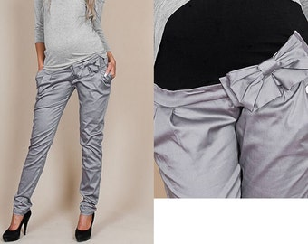 Maternity wear maternity pants trousers loop maternity pants gray