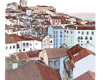 Lisbon cityscape - High quality Giclee print of an original illustration