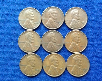 1951 Lincoln Wheat Pennies US Coins Old Coins American Coins Lot of 9