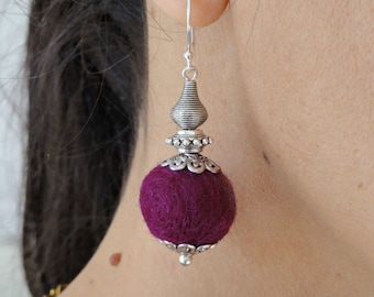 Wool earrings - Sterling silver ear wires - ethnique felted earrings, silver ethnic earrings, felt jewelry, textile earrings, Christmas gift