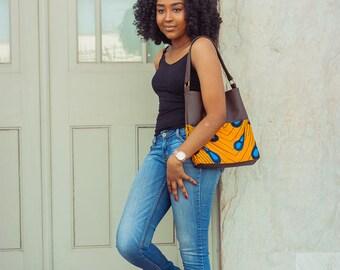Temi Hobo Bag / Ankara Purse / African Inspired Shoulder Bag / Vlisco Wax Print Handbag with Vegan Leather