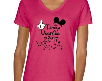 Disney Inspired Family Vacation Ladies Shirt V-neck vneck tshirt 5V00L