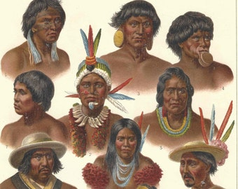 1908 Antique American People Natives Print German  Lithograph Book Plate Original