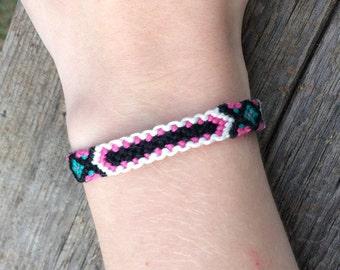 Pink, Green, Black, and Beige Diamond Friendship Bracelet