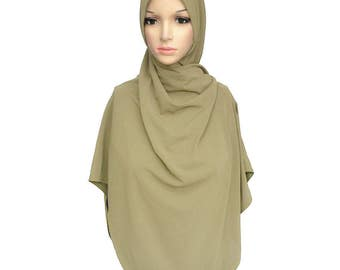 Gold Crepe Slip On Instant Twist Hijab