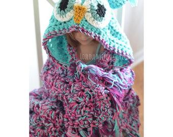 SALE! Crochet Owl Blanket | hooded owl blanket owl blanket, hooded blanket, owl blanket for kids, owl blanket for adult, owl gifts