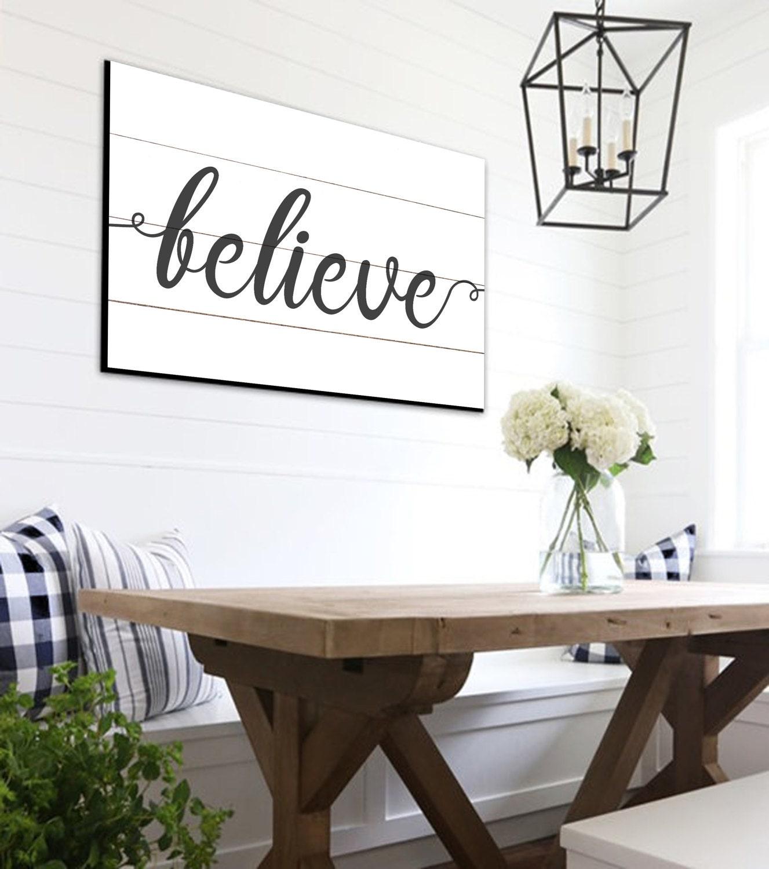 believe shiplap sign farmhouse wall decor rustic home decor