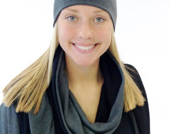 Women's Beanie Hat - Grey Jersey Slouchy Hat - Boho Beanie - Yoga Hat - Gift for Her