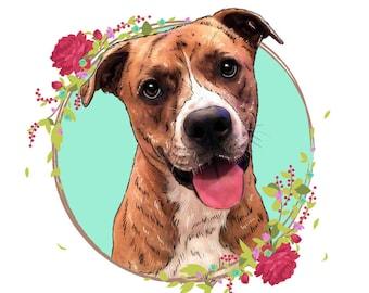 Custom dog illustration, Custom pet portrait, Pet drawings, Dog portrait, Dog print, Dog poster, Cartoon dog portrait, Gift for dog lover