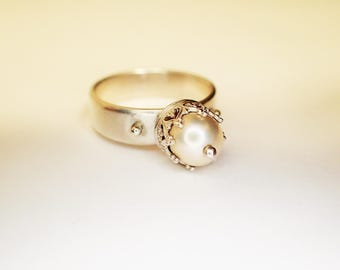 Ring Prinzessin Silber Krönchen Zuchtperle / You can buy me, but I will be from 28.08. made or sent