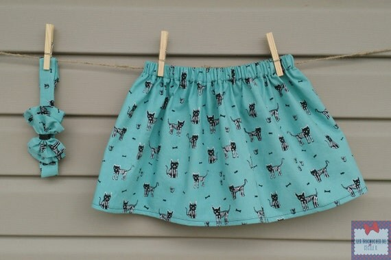Skirt and headband HALLOWEEN - set - girl - cat skeleton / Skirt and headband HALLOWEEN - set - girl (baby-toddler) - cat skeleton