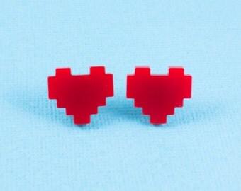 Pixel Heart Stud Earrings - Red