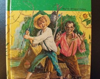 "Vintage Hard Cover Whitman Classics Book 1950s Copyrighted Mark Twain's ""Huckleberry Finn"" Illustrated By Paul Frame"