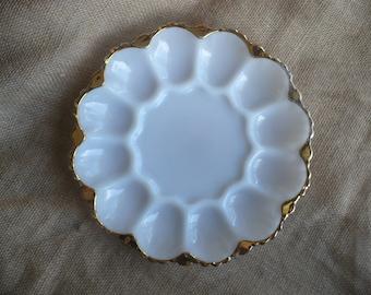 Vintage Deviled Egg Platter, Milk Glass Deviled Egg Serving Tray