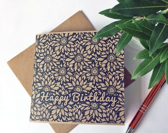 Floral Birthday Card with Water Lilies Design, unique flower patterned happy birthday greetings, ideal for aunt, mum, sister, recycled UK