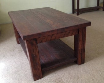 Solid Wood Coffee Table | Solid Wood Farmhouse Coffee Table | Rustic Coffee  Table