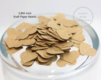 """Kraft Paper Hearts, Heart Confetti, 100 Hearts, 5/8th"""", Table Confetti, Paper Hearts, Rustic Wedding, Wedding Aisle Confetti, Confetti Toss"""