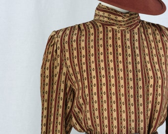 1980s Blouse - Victorian Steampunk - Striped Print - Long Sleeve - High Neck - Vintage Blouse - Gold Brown - Size Medium Large