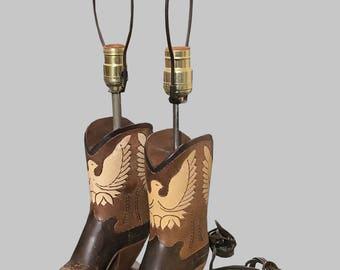1950s Wood Cowboy Boot Lamps