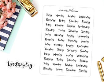 Small Weekdays (matte planner sticker, filofax, kikki k, webster pages)