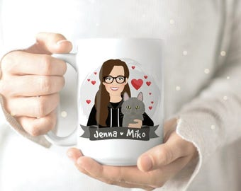 Funny Cat Mug - Personalized Mug - Personalized Cup - Custom Cartoon - Personalized Cartoon Mug - Cat Lady Mug - Cat Lady Gift - Coffee Cup