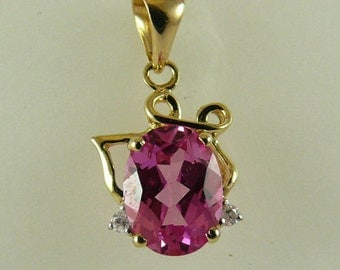 Pink Topaz 1.85ct Pendant with Diamonds 14k Yellow Gold