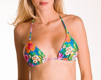 Brazilian Bikini Triangle String Bikini Top Floral Print Swimwear Swimsuit