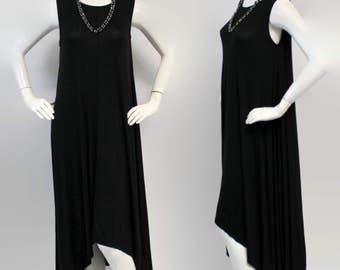 Elegant and Chic. Long Summer Maxi Dress, Lagenlook Tunic, Hi Lo Tunic Dress, Asymmetrical Tunic Dress, Boho, Black, Sizes S, M, L