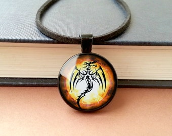 Dragon Pendant Necklace Black/Silver Red Fire Dragon Photo Pendant Glass Necklace Magical Orange Statement Jewellery