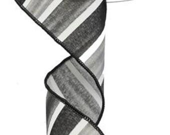 RIBBON - Wired Ribbon - Black Ribbon - Striped Ribbon - Black and White Ribbon - Wreath - Floral Ribbon - RG0143902