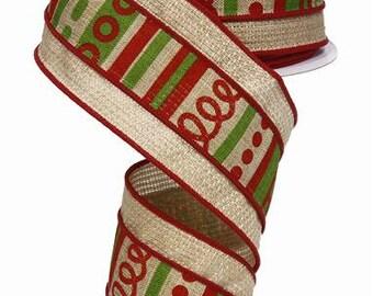 RIBBON - Wired Ribbon - Burlap Ribbon - Loopy Stripes Ribbon - Wreath - Floral Ribbon - RG8600