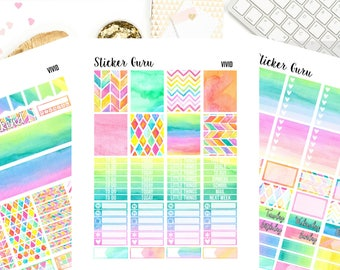Vivid Rainbow // Printable Planner Stickers // Weekly Planner Sticker Kit // for Erin Condren MAMBI Happy Planner // PDF Files